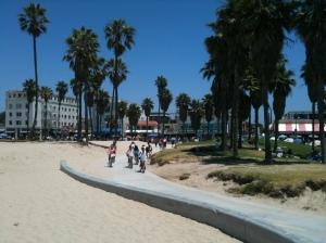 Cyclists enjoy the ride at Venice Beach, California.