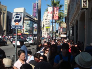Crowds packed Hollywood Boulevard.