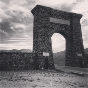 The Roosevelt Arch welcomes visitors to the northern gate of Yellowstone National Park.